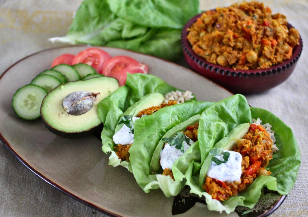 Spicy chickpea filling, a dente brown rice, avocado, lemony yogurt, encase in a crunchy lettuce leaf